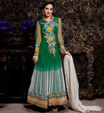 BUY NEW FASHION ANARKALI DESIGNER SUITS ONLINE  EXCELLENT GREEN PARTY WEAR NET FABRIC ANARKALI WITH SANTOON INNER, SALWAR AND DUPATTA