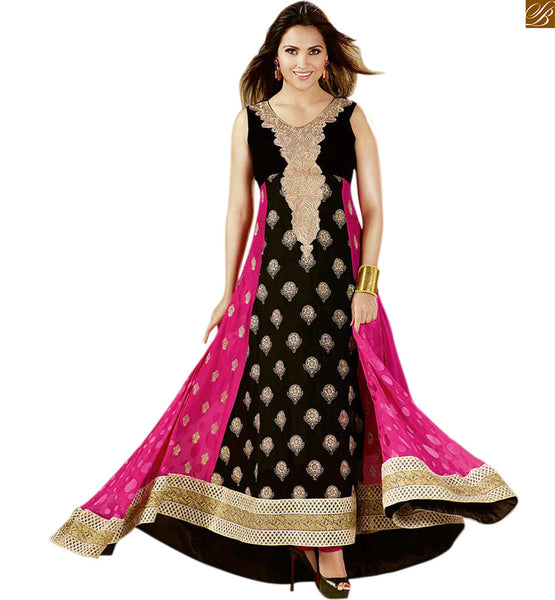 Lara dutta designer anarkali salwar suit online shopping black and pink velvet and georgette heavy resham embroidered kameez with pink santoon bottom photo
