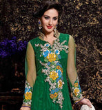 EXCELLENT GREEN PARTY WEAR NET FABRIC ANARKALI WITH SANTOON INNER, SALWAR AND DUPATTA GO GREEN WITH THIS BEAUTIFUL ANARKALI FLORAL MULTI COLOR HEAVY EMBROIDERY WORKED PARTY WEAR, THIS  DRESS COMES WITH OFF-WHITE NET LACE WORKED DUPATTA