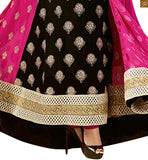 Pink and black chiffon dupatta with anarkali kameez on embroidery work and stone work at neck line and border work on lower part Image