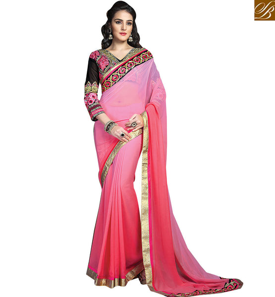 A STYLISH BAZAAR PRESENTATION HEAVILY EMBROIDERED OCCASIONS WEAR DESIGNER SARI RTCRM6060