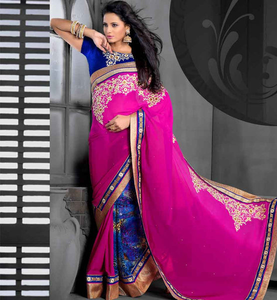PURE GEORGETTE PARTY WEAR SAREE SHOPPING EMBROIDERED BLOUSE PIECE stylish bazaar