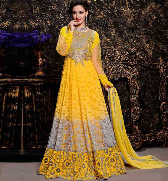 INDIAN DESIGNER SALWAR KAMEEZ ONLINE SHOPPING  EYE-CATCHING YELLOW COLOR BRASSO AND NET FABRIC ANARKALI WITH SALWAR AND DUPATTA