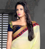 party wear saree teamed up with attractive navy blue dupion blouse fabric stylish bazaar