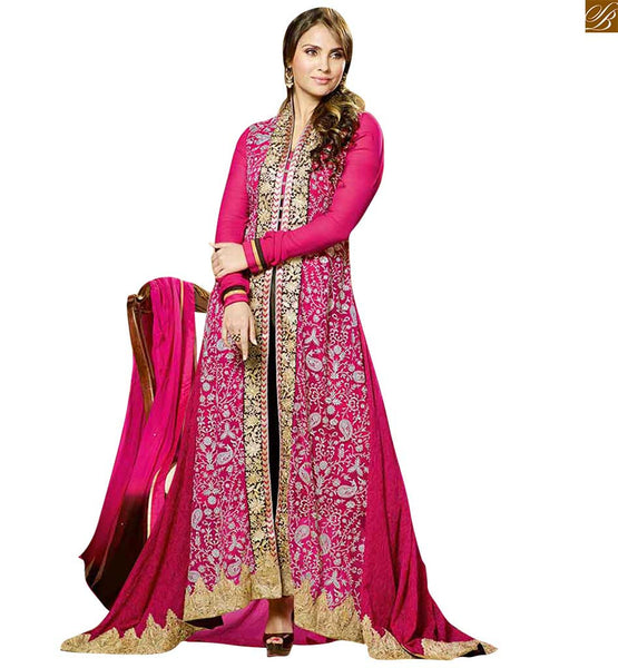 Lara dutta floor length bollywood style dresses online deep carmine pink georgette heavy floral embroidered and zari worked dress with black designer bottom Image