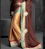 ethnic zari work satin chiffon striking Golden & chocolate color party wear saree stylish bazaar