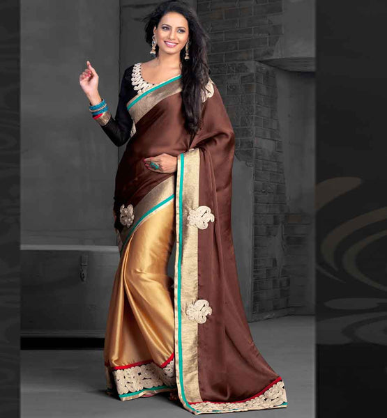 ETHNIC ZARI WORK SATIN CHIFFON BOLLYWOOD ACTRESS STYLE SARI BLOUSE stylish bazaar