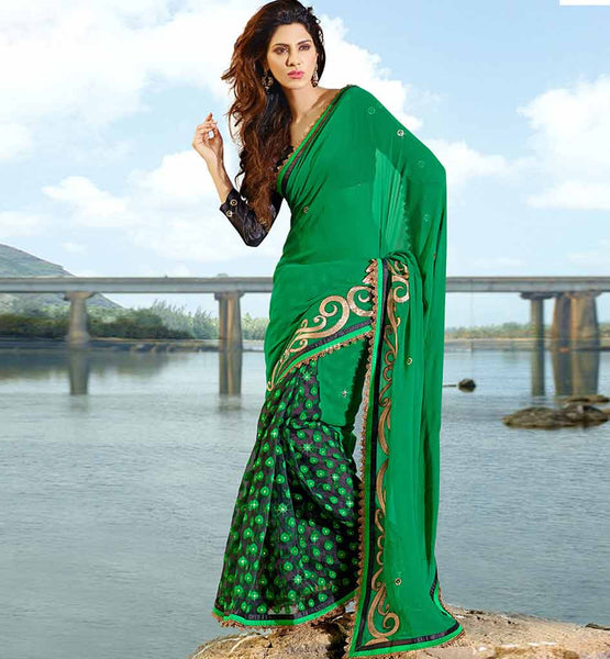 GREEN & BLACK CASUAL WEAR SAREE RTAH608