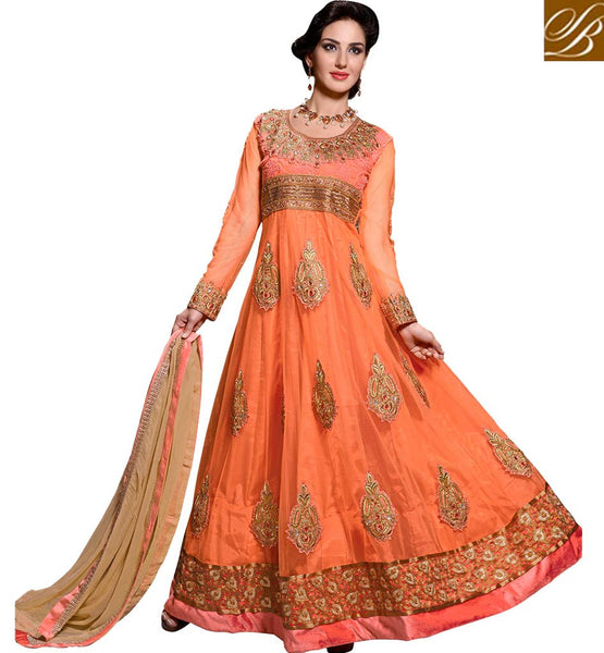EVER STYLISH ANARKALI SUITS ONLINE SHOPPING INDIA IRRESISTIBLE ORANGE NET FABRIC DRESS WITH SANTOON SALWAR AND CHIFFON DUPATTA