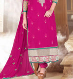 PARTY WEAR SALWAR KAMEEZ ONLINE SHOPPING IN INDIA COTTON & NET DARK PINK