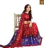 RED & BLUE PARTY WEAR GEORGETTE SARI WITH BLOUSE PIECE. GOOD COLOR COMBINATION GEORGETTE SARI THAT YOU CAN WEAR AT THE PARTIES