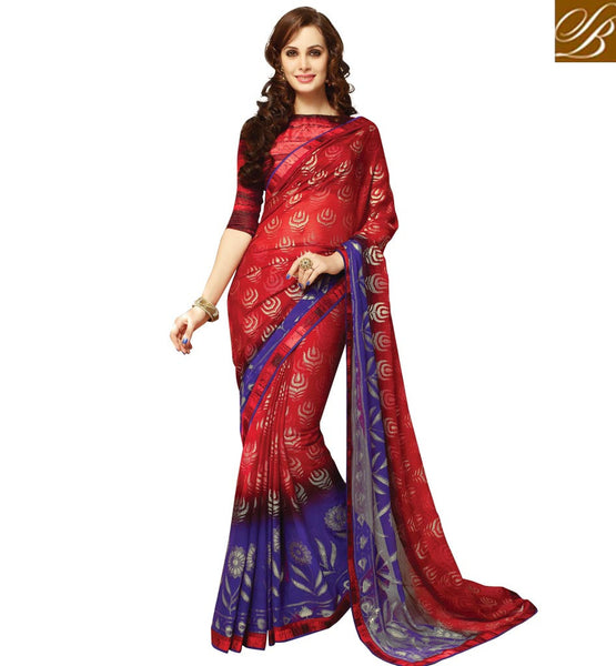BLOUSE DESIGN FOR GEORGETTE SAREE LATEST DESIGN 2015 WITH PRICE RED & BLUE PARTY WEAR GEORGETTE SARI WITH BLOUSE PIECE
