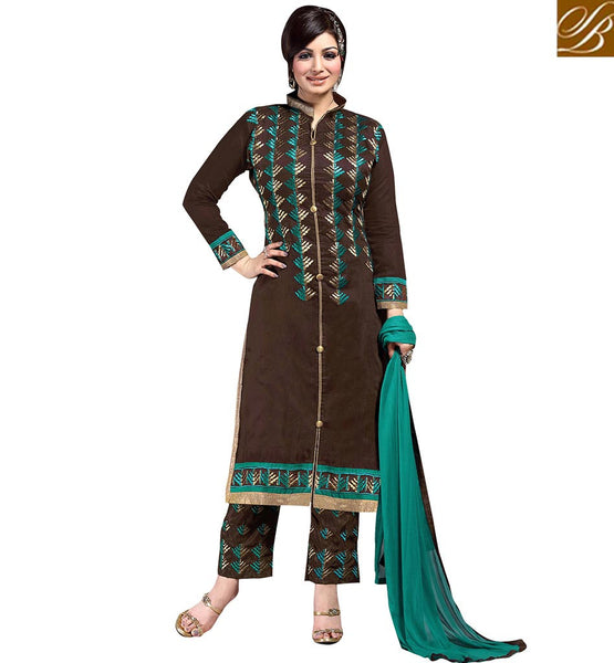 BOLLYWOOD DIVA AYESHA TAKIA IN GORGEOUS PAKISTANI STYLE SALWAAR KAMEEZ VDAYE6103 BY BROWN