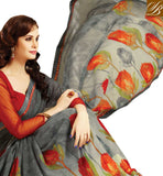 SAHIBA GREY PRINTED SAREE WITH MAROON ART SILK CHOLI FABRIC. PRINTED SARI WITH FLORAL DESIGNS & COOL COLOR CONTRAST