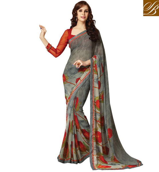 BLOUSE DESIGN LATEST SAREES ONLINE SHOPPING WITH HIGH QUALITY PRINT. SAHIBA GREY PRINTED SAREE WITH MAROON ART SILK CHOLI FABRIC