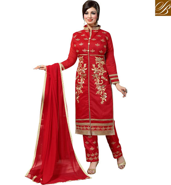 BEAUTEOUS BOLLYWOOD HEROINE AYESHA TAKIA IN STRAIGHT CUT SALWAAR KAMEEZ VDAYE6107 BY RED COLOR