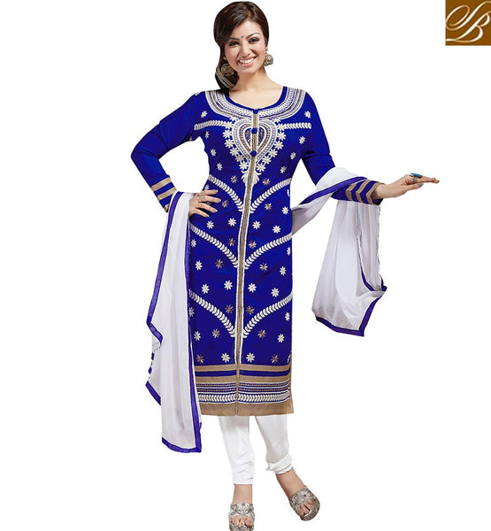 AYESHA TAKIA IN DELIGHTFULLY DESIGNED PAKISTANI STYLE SALWAAR KAMEEZ VDAYE6108 BY ROYAL BLUE