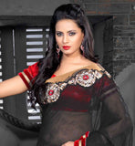 embroiderd Black saree with Contrast red Dupion blouse material stylish bazaar