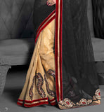 Superb lace & velvet border takes the look of the sari to the next level stylish bazaar