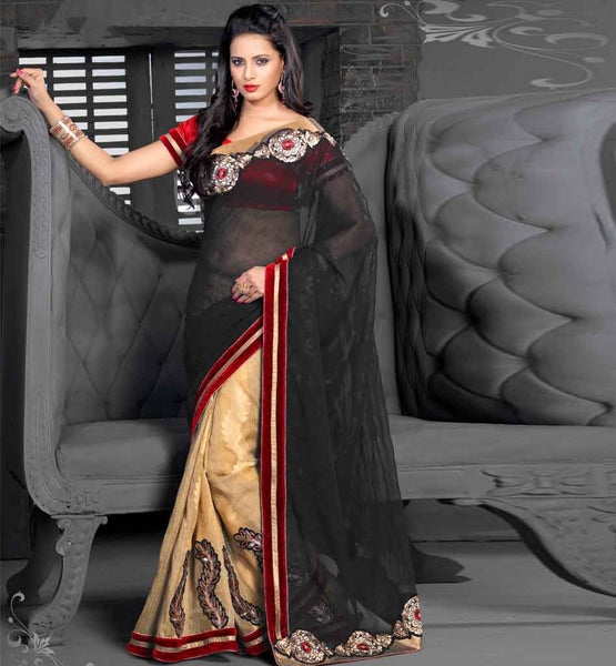 HIGH QUALITY GEORGETTE & JACQUARD DESIGNER SAREE WITH BLOUSE PIECE stylish bazaar