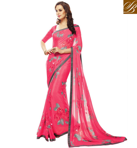 CASUAL WEAR SAREES ONLINE SHOPPING INDIA WITH MATCHING BLOUSE PIECE. LIVELY PINK GEORGETTE SARI WITH MATCHING BLOUSE MATERIAL