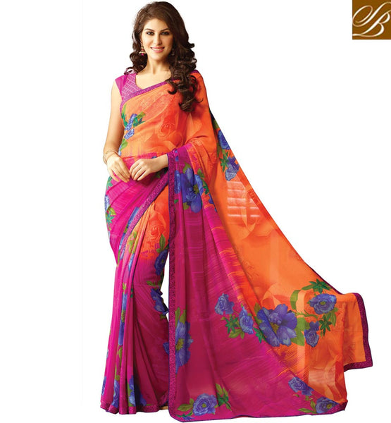 SAHIBA PRINCESS PRINTED GEORGETTE SAREES BUY ONLINE BELOW 2000. SMART COLOR COMBINATION AND EYE-CATCHING PRINT WORK CASUAL SARI