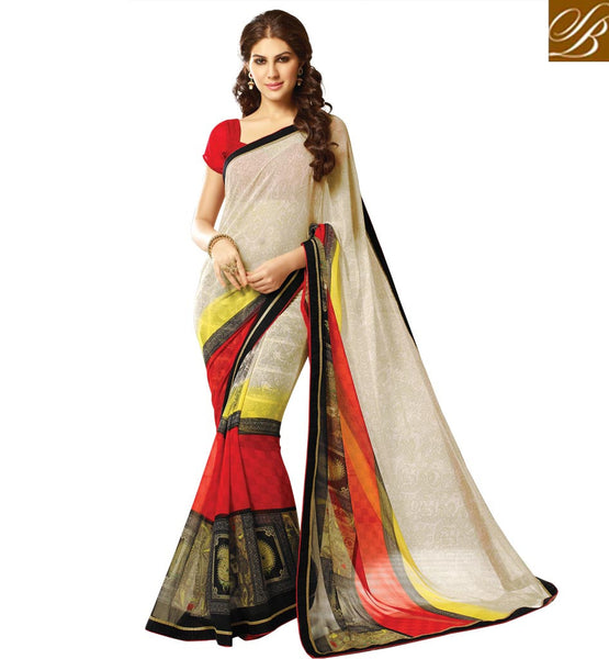 SHOP ONLINE CASUAL WEAR SARIS WITH CHOLI NEW 2015 SAHIBA COLLECTION GOOD LOOKING AND COMFORTABLE CASUAL WEAR SARI WITH ART SILK BLOUSE
