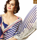 STUNNING BLUE GEORGETTE SARI WITH ART SILK BLOUSE STRIPES SARI WITH  ARTISTIC FLOWERY PRINT ON BOTTOM