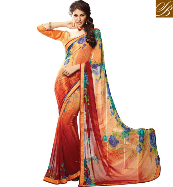 SAHIBA SAREES FOR THE MODERN INDIAN LADY TO WEAR AT THE WORKPLACE DESIGNER OFFICE WEAR PRINTED GEORGETTE SARI WITH ART SILK BLOUSE