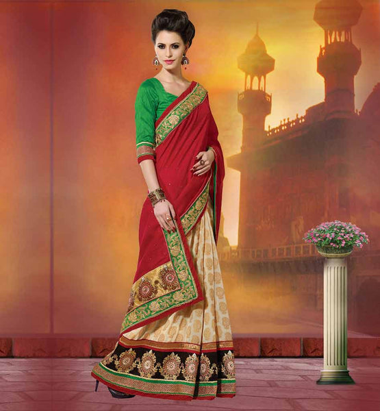 HEAVY EMBROIDERED GEORGETTE SAREES FROM INDIA SILK GREEN BLOUSES COMES WITH LOWER VISCOSE FLORAL & KERRY STYLE