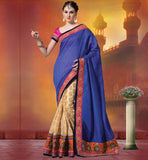 FLORAL EMBROIDERED LATEST DESIGNER SAREES ONLINE  BLUE & OFF WHITE SILK SAREES INCLUDING STONE WORK ON WHOLE PALLU