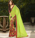 GREEN WITH PRINTED CASUAL WEAR SAREE RTAH613