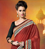 GEORGETTE FABRIC AND SILK BLOUSE INDIAN WEDDING SAREES   COMES WITH STITCH EMBROIDERY & SEQUENCE WORK AT BOTTOM MAKE IT BEAUTIFUL SAREES MORE CLASSY