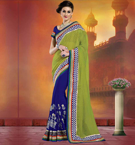 LATEST SAREES DESIGNS WITH EMBROIDERY & SEQUINS GREEN & BLUE GEORGETTE SAREES COMES WITH SILK BLOUSE AND