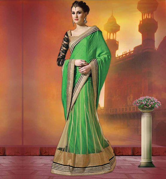 TRENDY DESIGNER PARTY WEAR SAREE BLOUSE DESIGNS GLAMOROUS GREEN SATIN CHIFFON AND NET SARI WITH GOLDEN AND BLACK BLOUSE