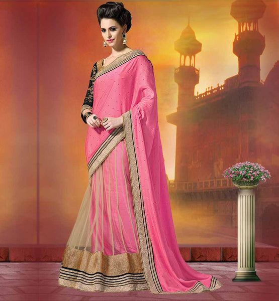 PARTY WEAR SAREE BLOUSE DESIGNS ONLINE SHOPPING GORGEOUS PINK SATIN CHIFFON AND NET SARI WITH GOLDEN AND BLACK BLOUSE