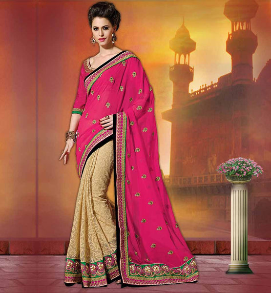 GEORGETTE & JUTE WEDDING SAREES COLLECTION PARTY WEAR SAREES EMBOSSED BY GOLDEN COLOR FLORAL EMBROIDERY
