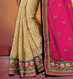 SAREE DESIGNS ON LOWER PART WITH FLORAL WEAVING  WITH EMBROIDERY BORDER WORK GEORGETTE & JUTE WEDDING SAREES COLLECTION
