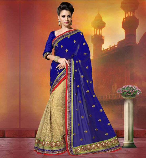 GOLDEN BUTTAS FLORAL SAREES BLOUSE DESIGNS VDMER616B