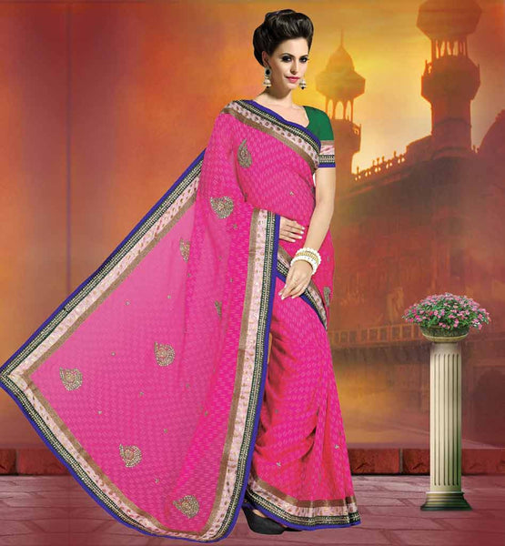 STONE AND MOTTI WORKED DESIGNER SAREES ONLINE APARTY WEAR SAREES WITH BLUE & COPPER BORDER WORK WITH WEAVING INDIAN WEDDING SAREE HAS THE BEST COLOR CONTRAST WITH BLOUSE
