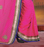INDIAN WEDDING SAREE HAS THE BEST COLOR CONTRAST WITH BLOUSE STONE AND MOTTI WORKED DESIGNER SAREES ONLINE