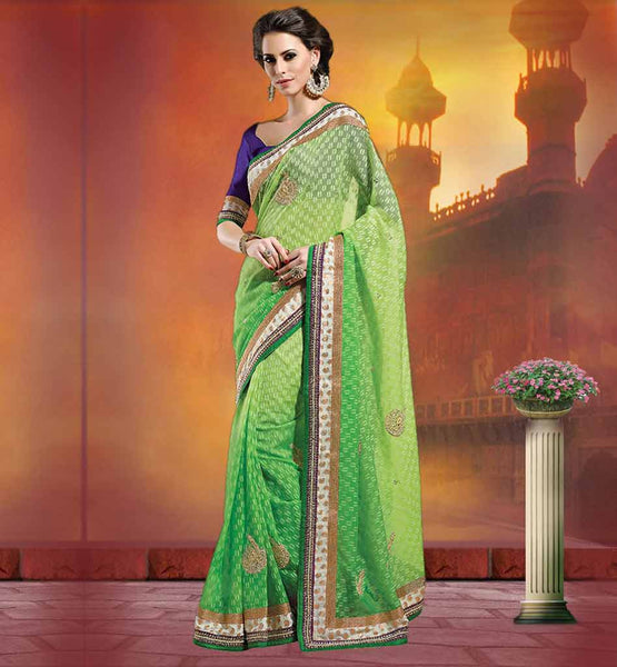 BUY SAREES ONLINE INDIA PAY CASH ON DELIVERY PREMIUM GREEN JUTE NET SARI WITH BLUE SATIN CHIFFON BLOUSE