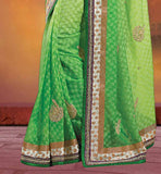 BUY SAREES ONLINE INDIA PAY CASH ON DELIVERY GREEN COLOR KERRY STYLE EMBROIDERY WORK AT BORDER LINE WITH GOLDEN COLOR FLORAL EMBROIDERY BORDER