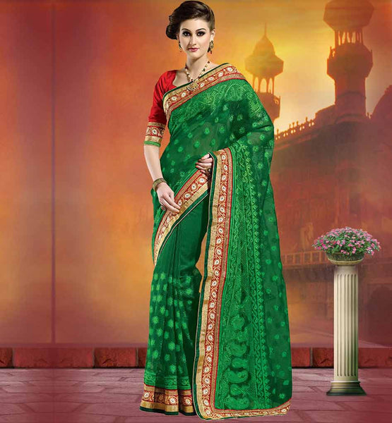 DESIGNER NET SAREE WITH SMART LOOKING DESIGN OF BLOUSE  EMBOSSED SAREE DESIGNS WITH FLORAL EMBROIDERY  KERRY STYLE EMBROIDERED BLOUSE DESIGN FOR NET SAREE