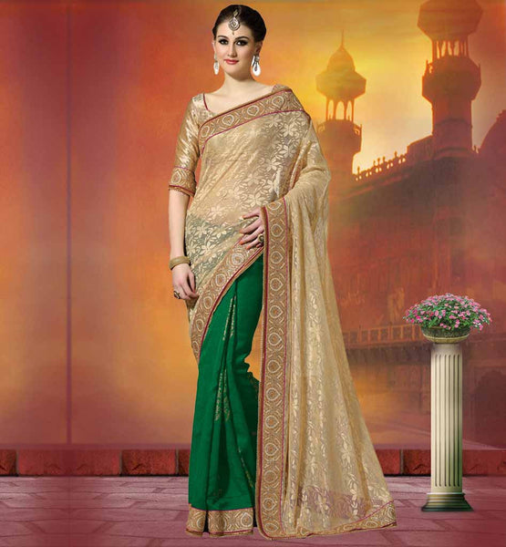 NET & JUTE BROCKET PARTY WEAR SAREES FROM INDIA FLORAL WEAVING AND COPPER COLOR ZARI BORDER DESIGNER SAREES ONLINE