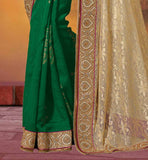 SAREE BLOUSE DESIGNS HAVE TWO SIDE WEAVING MADE IT VIVID NET & JUTE BROCKET PARTY WEAR SAREES FROM INDIA