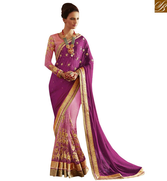 A STYLISH BAZAAR PRESENTATION GRAND PURPLE COLOR EVENING WEAR SARI BLOUSE DESIGN ANRA61