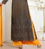 62011 SUPERB COLOR COMBINATION BRWONS KAMEEZ WITH YELLOW SALWAR & DUPATTA