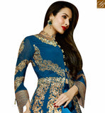 FROM THE HOUSE OF STYLISH BAZAAR BOLLYWOOD DRESS MALAIKA ARORA KHAN SPLENDID BLUE ZARI WORK SLIT SALWAAR SUIT GLMAK6202