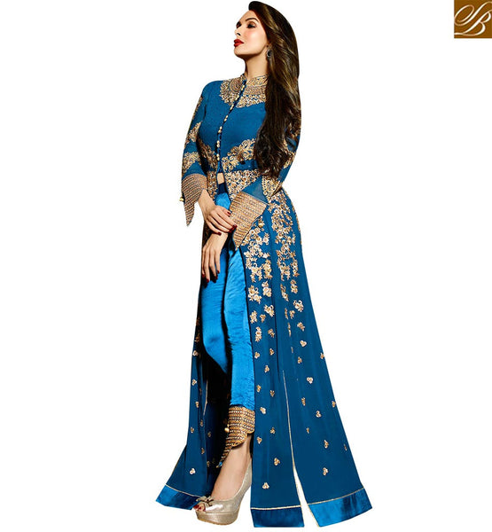 STYLISH BAZAAR BOLLYWOOD DRESS MALAIKA ARORA KHAN SPLENDID BLUE ZARI WORK SLIT SALWAAR SUIT GLMAK6202